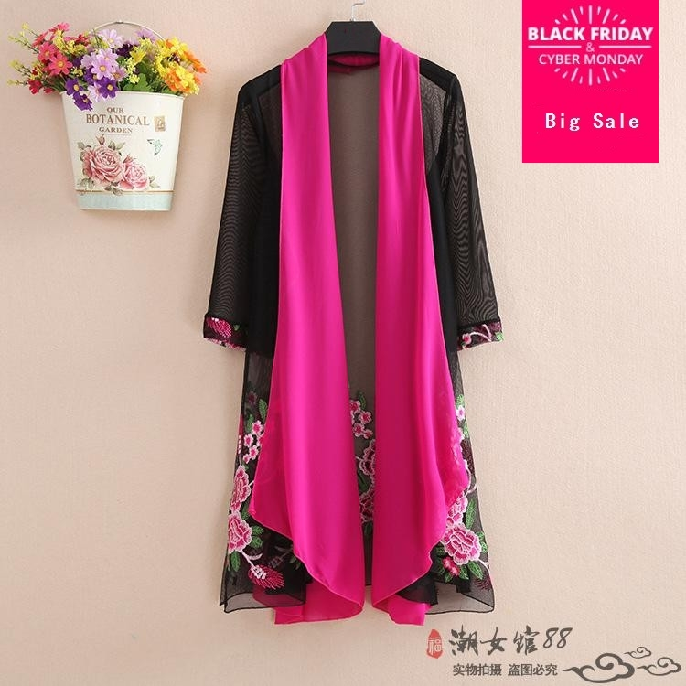 New spring and autumn 2019 women's European embroidery Transparent   trench   lace kimono style   trench   wj1106 Sunscreen outwear