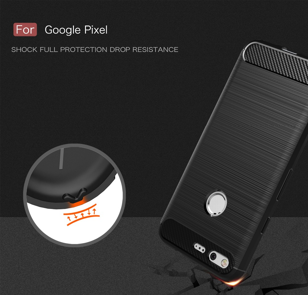 New Anti-drop Soft Carbon Fiber Luxury Brushed TPU Back Case For Google Pixel / Pixel XL Rubber Cover Caso de telefone Coque