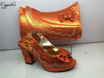 Excellent orange evening party high heel sandal shoes and handbag sets  GY38 heel height 7cm