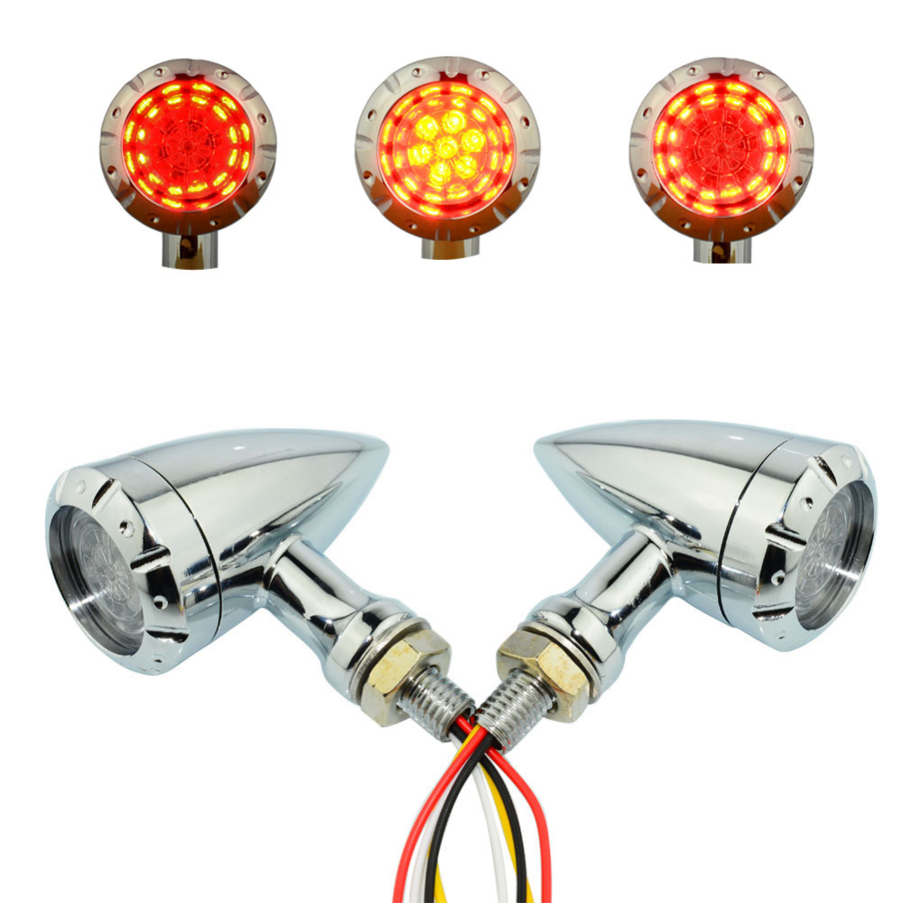 Universal 4 Wire Chrome 12v Blinker Running Brake Bullet LED Brake Turn Signal Light Indicator Lamp Motorcycle For Harley Honda