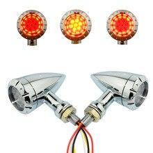 Universale 4 filo Chrome 12 v Lampeggiatore corsa del freno LED Della Pallottola Freno del Segnale di Girata Indicatore luminoso Della Lampada Del Motociclo per Harley honda