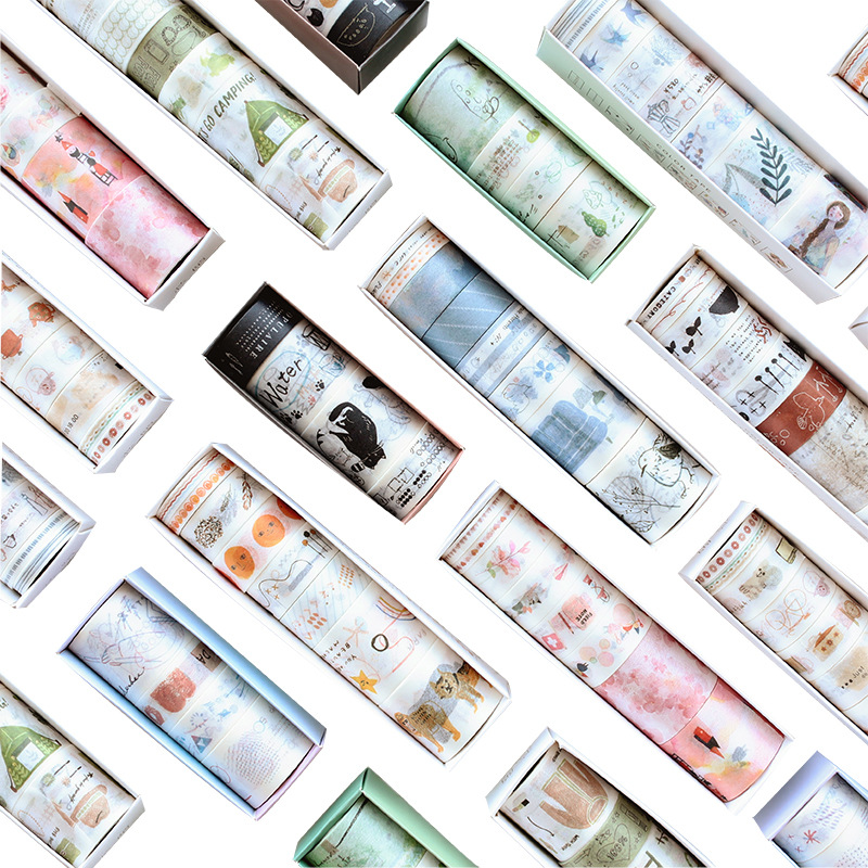 8 Pcs/lot Animals Cloud Plants Decoration Washi Tape Adhesive Tape Diy Scrapbooking Sticker Label Masking Craft Tape