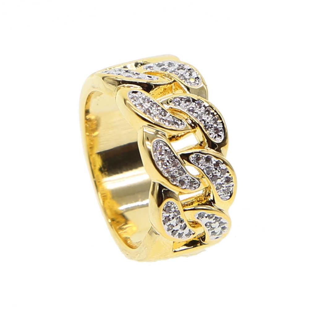 Nowy mans trendy 2018 pierścionki złoty kolor najwyższej jakości bling bling ice out AAA CZ hip hop punk pierścień w znajdź najnowsze promocje i kubański link łańcuch