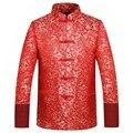 Красный Шелк Куртка Мужчины Осень Зима 2016 Дракон Cheongsam Топы Плюс Размер 4XL Традиционный Китайский Одежда Тан Костюм Куртка Венчания