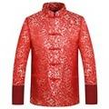 Hombres de la chaqueta de otoño invierno 2016 dragón cheongsam de seda roja tops plus tamaño 4xl clothing chino tradicional juego de la espiga de la boda chaqueta