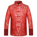 Red Silk Jacket Men Autumn Winter 2016 Dragon Cheongsam Tops Plus Size 4XL Traditional Chinese Clothing Tang Suit Wedding Jacket