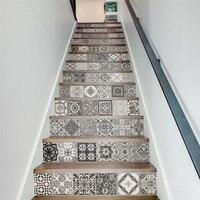 13 adet/takım yaratıcı diy 3d ev merdiven merdiven çıkartmalar için seramik fayans desen dekorasyon büyük merdiven duvar sticker