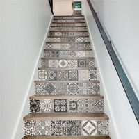 13 Pieces Set Creative DIY 3D Stairway Stickers Ceramic Tiles Pattern For House Stairs Decoration Large