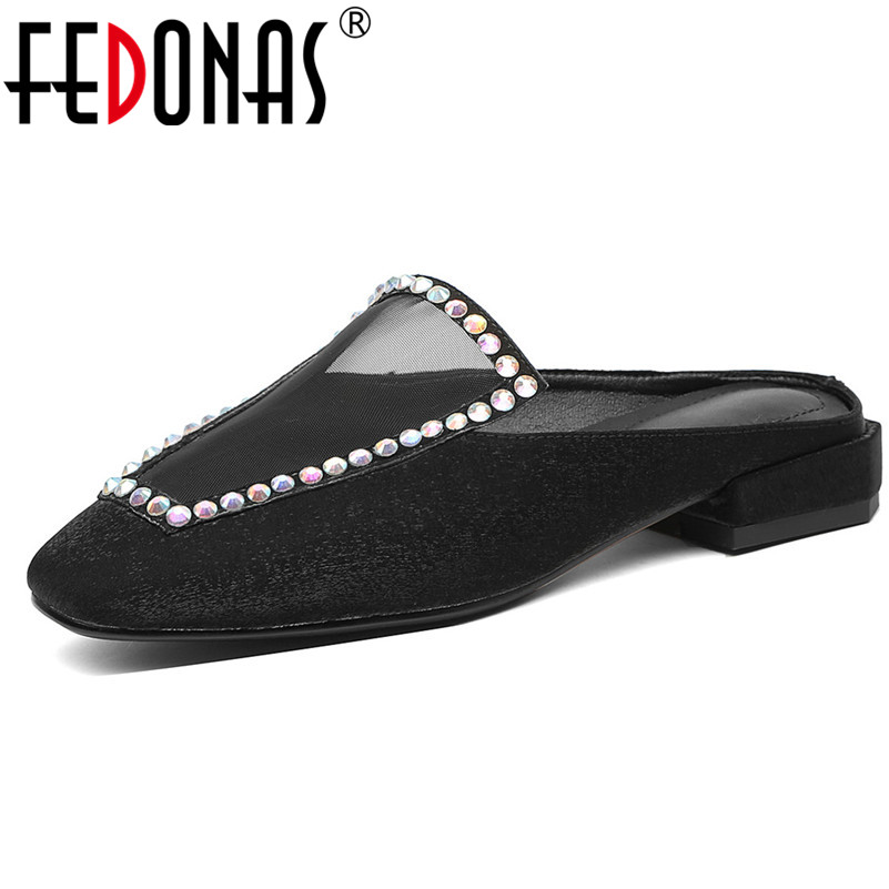 FEDONAS Casual Women Shoes Rhinestone Bling Elegant Pumps Spring Summer Party Shoes Woman Quality Silk Concise Square heeledFEDONAS Casual Women Shoes Rhinestone Bling Elegant Pumps Spring Summer Party Shoes Woman Quality Silk Concise Square heeled