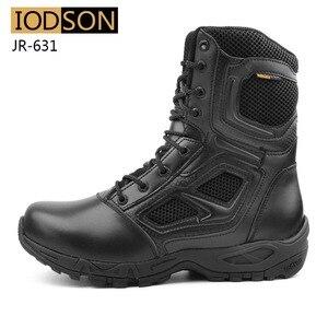 Image 2 - Yodson botas militares tácticas de combate para hombre, zapatos de combate de fuerzas especiales para exteriores, botas de trabajo de seguridad impermeables de cuero, talla 3