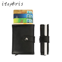 Itopkris PU Leather Automatic Credit Card Holder Travel Aluminum Men Business Card Wallet Quality Pop Up