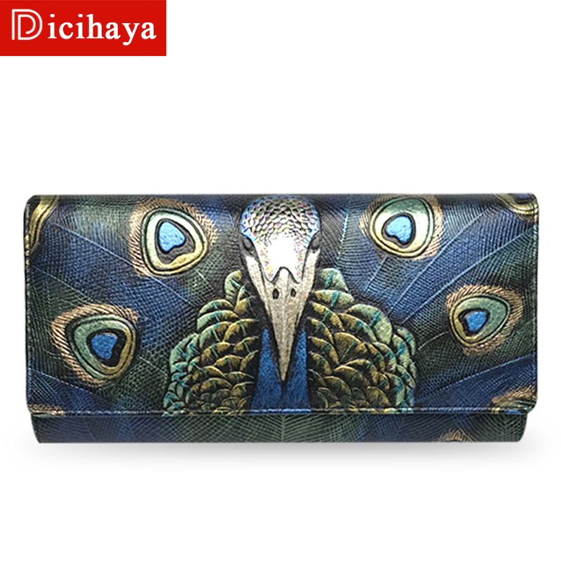 DICIHAYA 2018 Luxury Brand Women Wallets Genuine Leather Coin Purse Famous Brand Long Womens Purses Real Leather Female Wallets zooler brand women leather wallets handbag hot 2018 new stylish purse small wallet famous brand ol lady coin long purses 3905