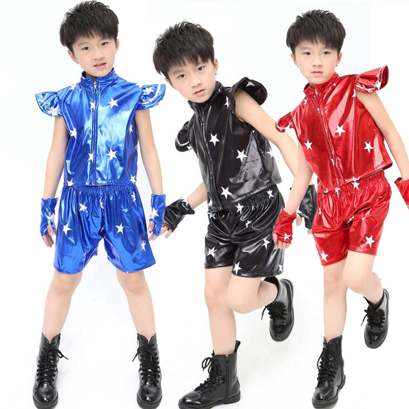 Blue Sequined Kids Jazz Dance Costumes tops+Pants Boys Modern Hip Hop Competitions show Dresswear Kids Party dance Outfits