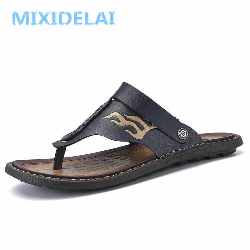 55d2d8f63401 MIXIDELAI Breathable Summer Roman Men Sandals Microfiber Leather Male Beach  Shoes Outdoor Slippers Soft Rubber Sandal