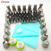 SHENHONG 77PCS Icing Piping Tips Set 1 Pcs Silicone Bag 3 Coupler Russian Tulip Nozzles Cupcake