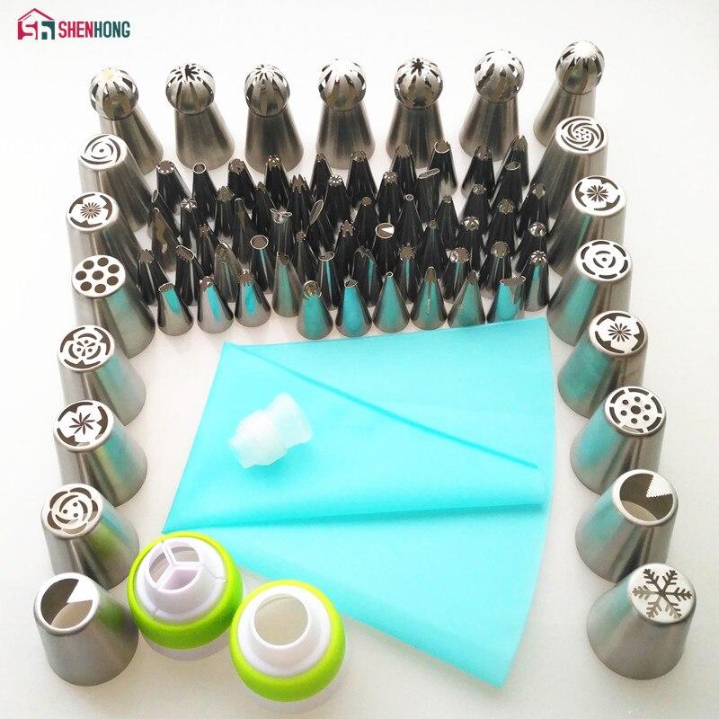 Shenhong 77 pçs dicas de tubulação de gelo conjunto 1 pçs saco de silicone 3 acoplador russo tulipa bicos cupcake bolo decoração diy sobremesa
