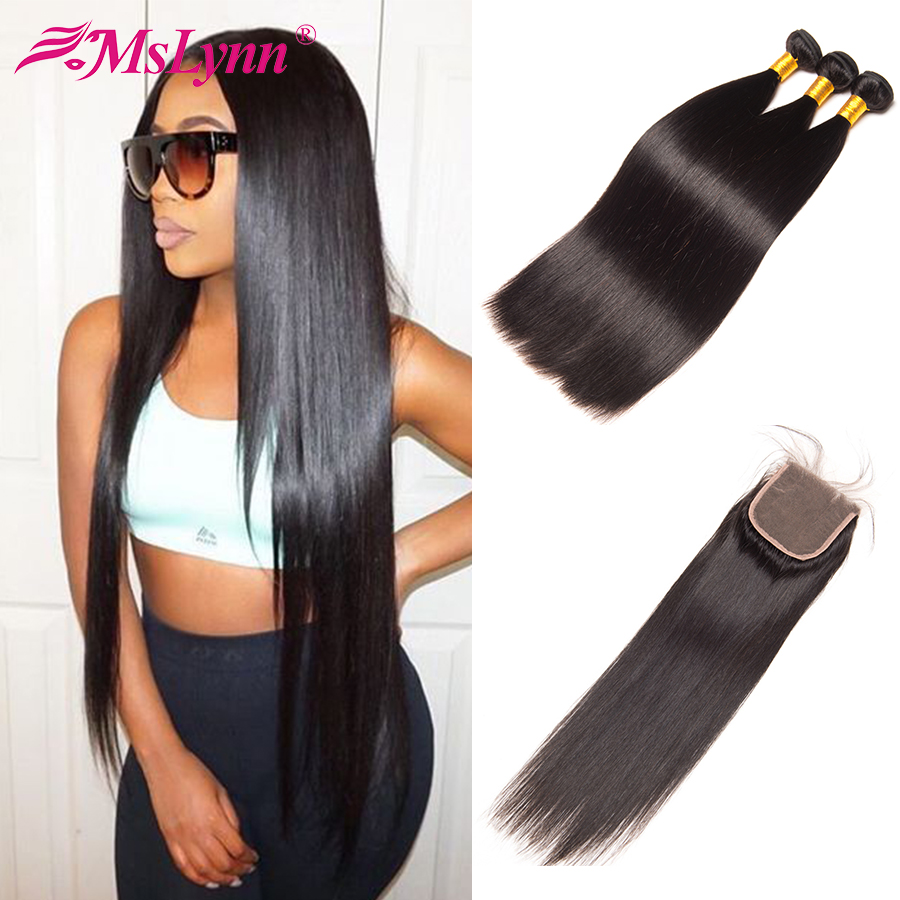 Mslynn Hair Bundles With Closure Indian Straight Hair 3 Bundles With Closure Human Hair With Closure 4x4 Non Remy Hair 4PC