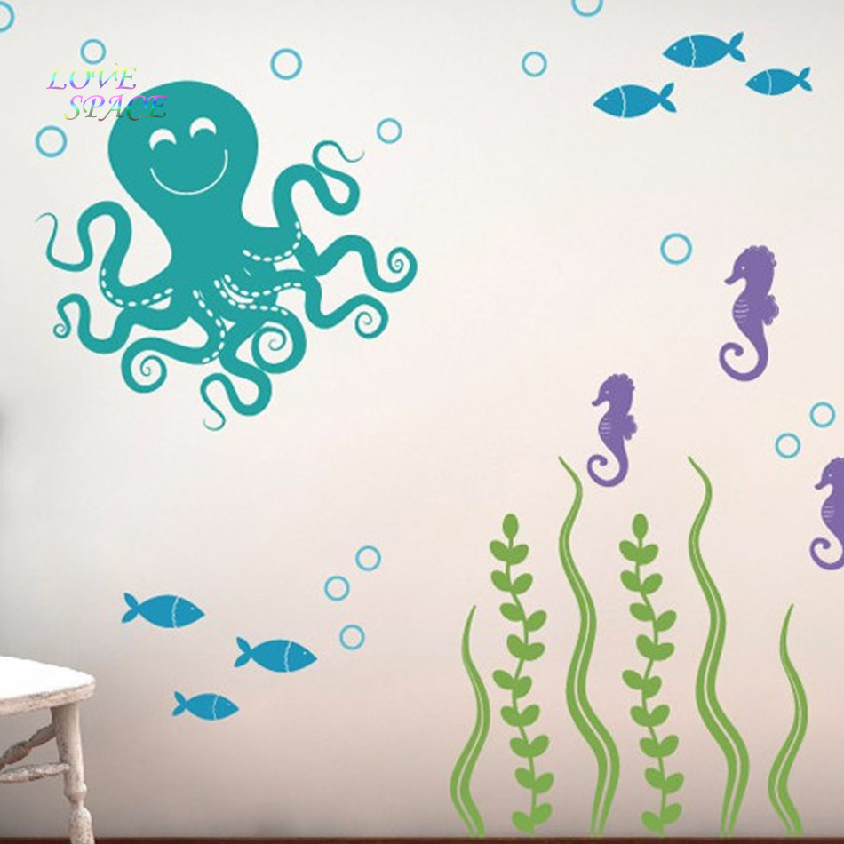 Sea ocean friends octopus seahorses seaweed fish vinyl nursery sea ocean friends octopus seahorses seaweed fish vinyl nursery wall decals children wall stickers wall sticker for kids rooms in wall stickers from home amipublicfo Gallery