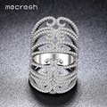 Mecresh Exaggerated Silver Color Hollow Flower Rings with 30mm Micro CZ Big Rhodium Plated Jewelry For Women Anillos Mujer JZ023