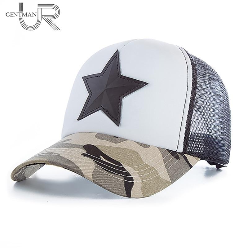 Novedad 3D cinco puntas estrella bordado malla béisbol gorra moda verano Snapback camuflaje gorra para hombres y mujeres ocio gorra