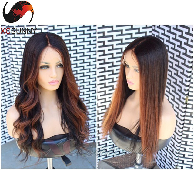 f38f284d9 130% Density 7A Grade Ombre Blonde Full Lace Wigs Body Wave lace Front  Human Hair