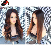 130% Density 7A Grade Ombre Blonde Full Lace Wigs Body Wave lace Front Human Hair Wigs Glueless Ombre Color Lace Front Wigs