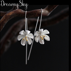 DreamySky Real Handmade Silver Color Ethnic Jewelry Fashion Lotus Flower Earrings For Women Wedding Statement Jewelry