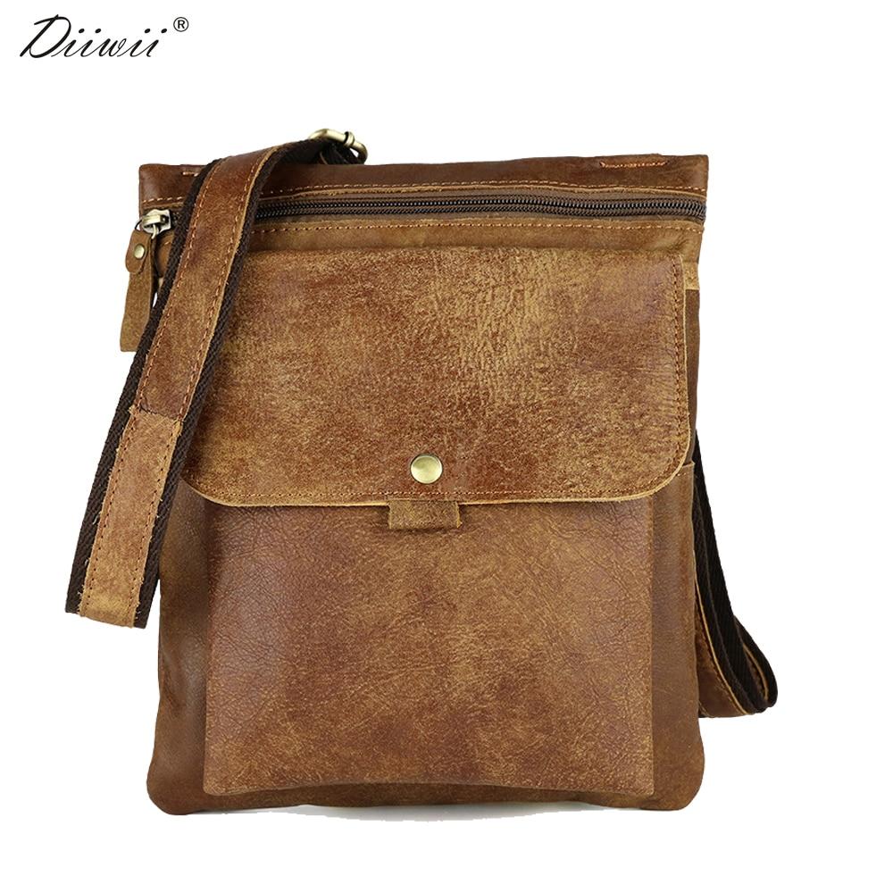 ФОТО Diiwii New Genuine Leather man bag cowhide male Crossbody bags waist pack small bag for male messenger bag handbag