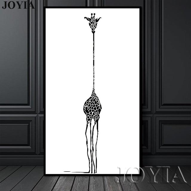 Pintura lienzo nórdico minimalista negro blanco abstracto jirafa ...