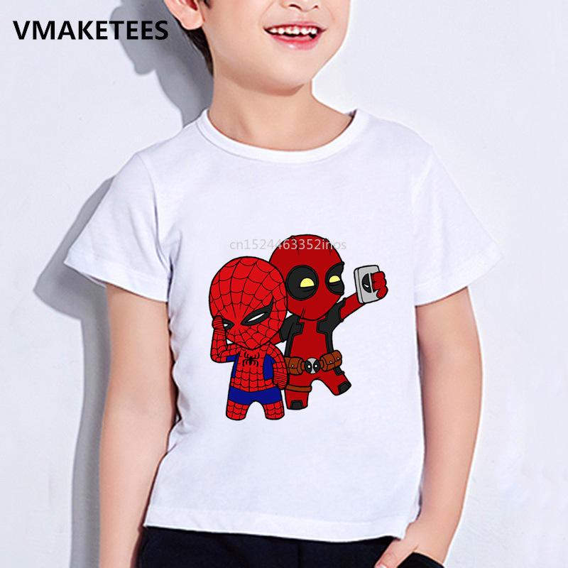 Kids Summer Girls&Boys T Shirt Deadpool And Spiderman Cartoon Print Children's T-shirt Cute Superhero Funny Baby Clothes,ooo2407