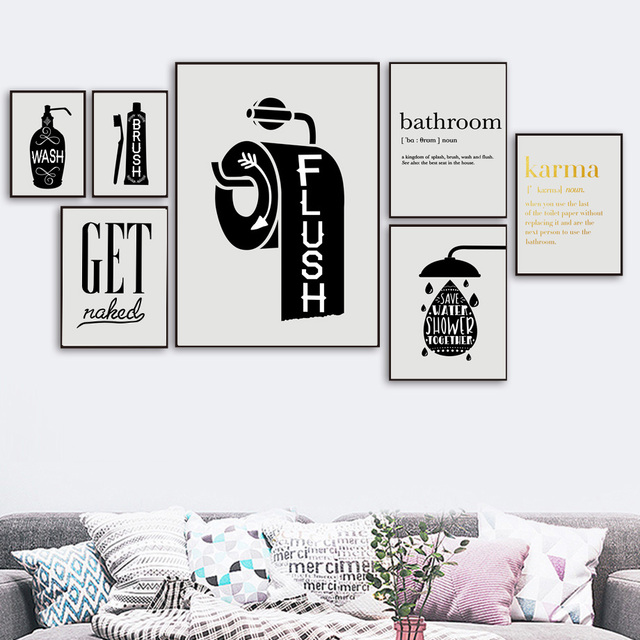 Toilet Paper Toothbrush Hand Soap Quotes Wall Art  1