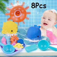 8Pcs/set Cartoon silicone baby shower water toy children bathroom set for gifts