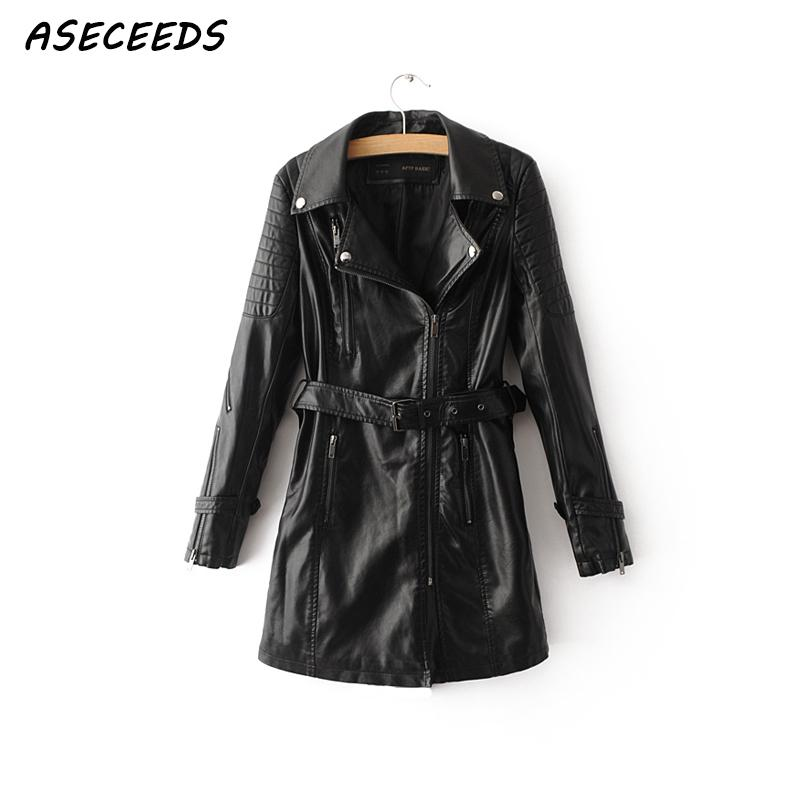 Autumn black PU   Leather   Jacket women's   leather   jacket long Motorcycle coat female Streetwaer zipper punk Biker jacket outwear