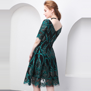 Image 2 - 美容エミリーグリーンカクテルドレス夏vネック半袖ブリンブリンスパンコール女性パーティーファッションデザイナーカクテルドレス