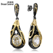 DC1989 Free shipping 2016 New Vintage design18K Gold black Plated Cubic Zirconia Brass Lead free Drop earrings for women (E18)