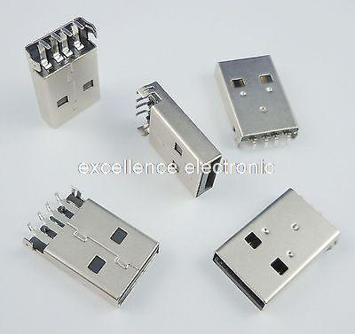 500Pcs USB Type-A 4Pin Male Panel Mount DIP Connector DIY usb3 0 round type panel mounting usb connecter silver surface