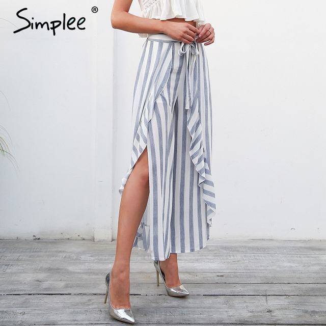 Simplee Stripe split wide leg pants women bottom Sash ruffle high waist trousers Summer beach casual pants female 1