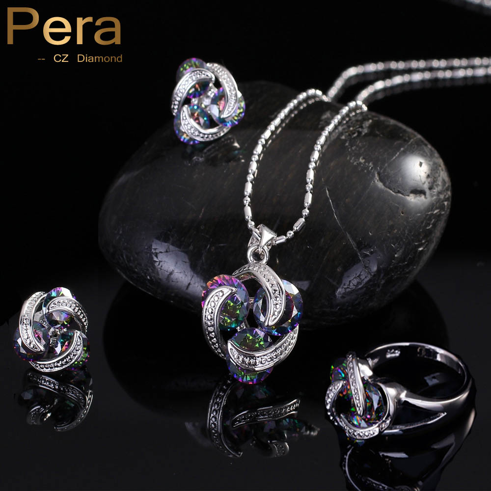 Pera Fashion Women 3ks Jewelry Gift Rainbow Mystic Crystal Stone - Bižuterie - Fotografie 1