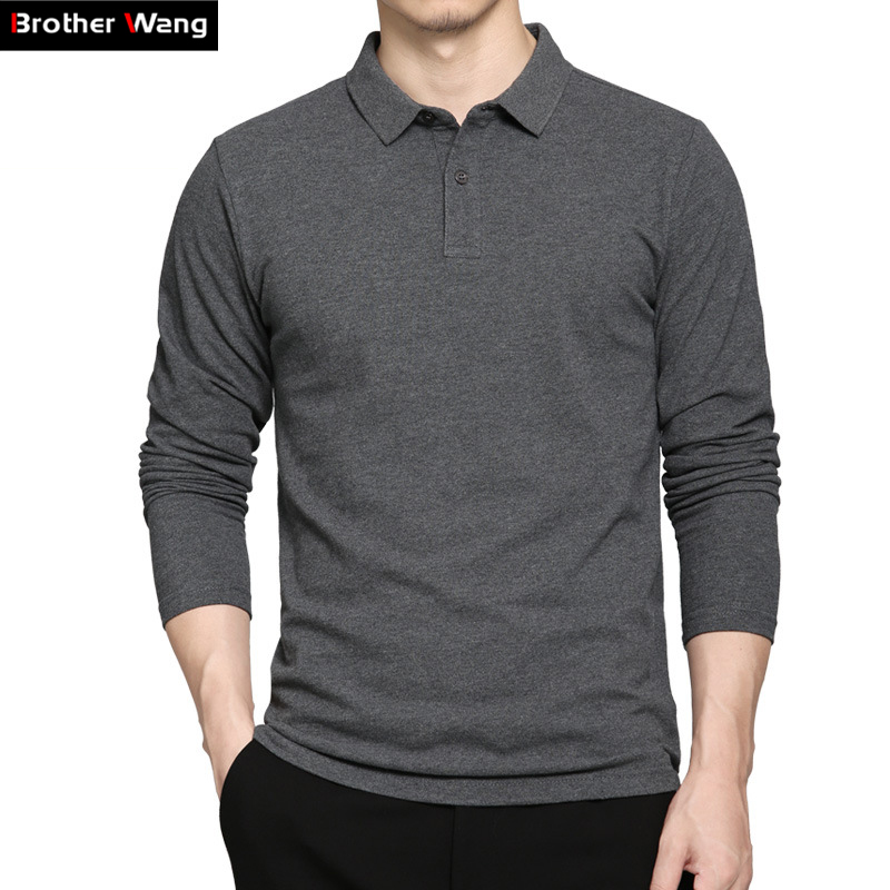 2019 Spring New Men's Brand   POLO   Shirt Business Casual Classic Style Cotton Slim Long-sleeved   Polo   Shirt Blouse Tops