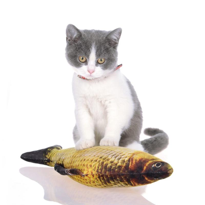 High Qualit Funny Lifelike Fish Shape Pet Cat Kitten Teaser Cute Simulation Plush Stuffed Fish Playing Toy CatnipToy Pillow Doll