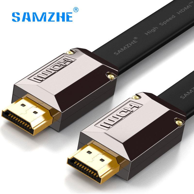 SAMZHE Flat HDMI Cable luxury Gold plated HDMI 2.0 Male to M