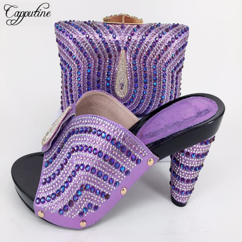 Capputine Wedding Slippe Shoes And Bag Set In African Design Italian Decorated With Stone Shoes With Matching Bag Set For Party cd158 1 free shipping hot sale fashion design shoes and matching bag with glitter item in black