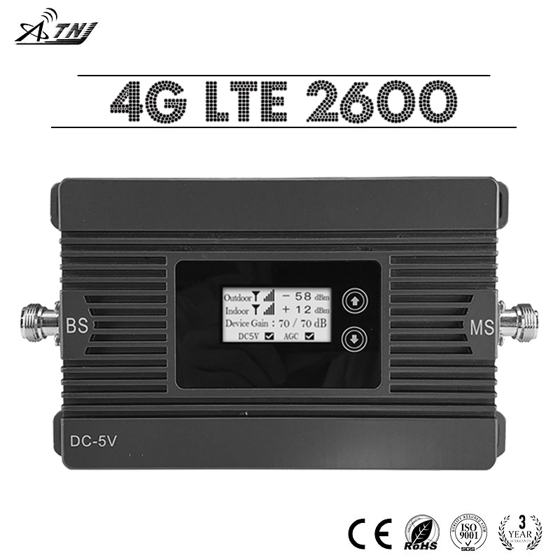 ATNJ 4G LTE 2600 Cellular Signal Amplifier 80dB Power Gain LCD Display 4G LTE 2600mhz Mobile Phone Repeater 4G Signal Booster