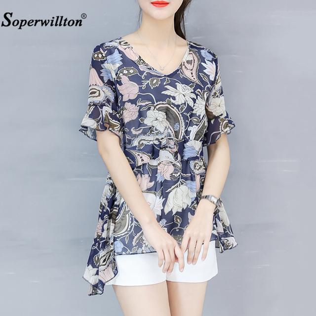 Chiffon Summer Blouses Plus Size 3XL Fashion Women's O-Neck Shirts Tunic Casual Femainie Blouse Tops Belt Blusa Women Clothing