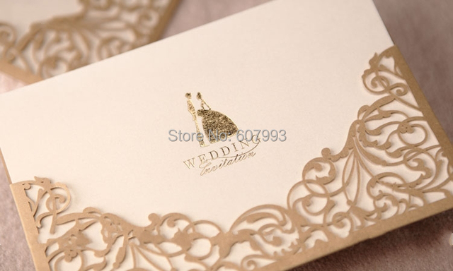 Gold Customized Laser cut pocket wedding party invitations card