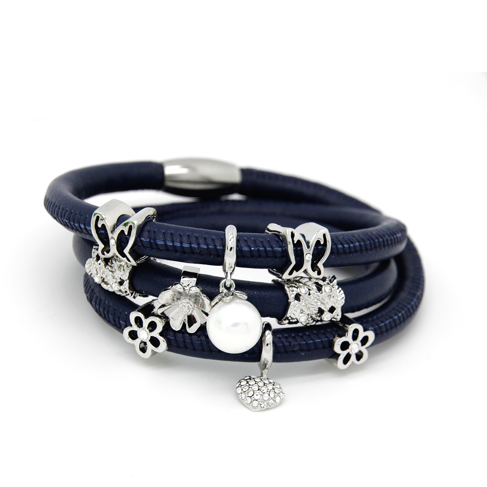 Fashion Jewelry Endless Bracelets 60cm Wrap Leather Bracelet with cute Lovely Silver Plated Charms Bracelet for Women  EB087 Браслет