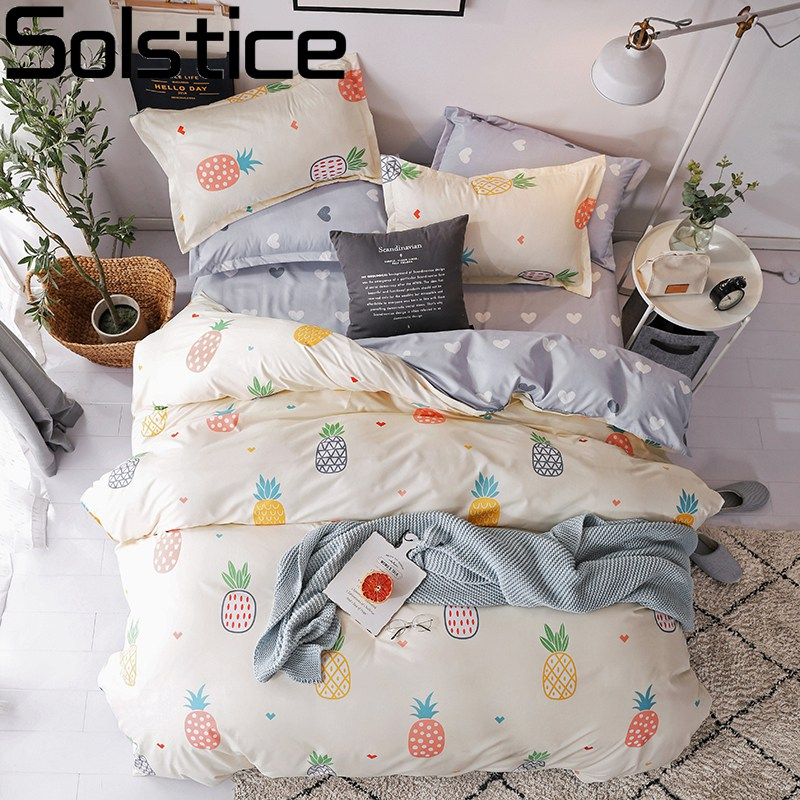 Solstice Mixed Color Cartoon Style Fox/snowflakes/animal Plants 4pcs Bedding Sets Bed Sheet Duvet Cover Pillowcase Bedclothes
