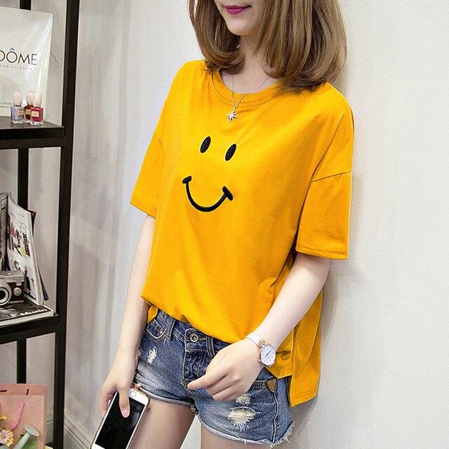 6b10b7d9 2018 summer short sleeve cotton t-shirt Korean Slim Embroidery smiling face  fashion round neck elegant casual Loose T-shirt
