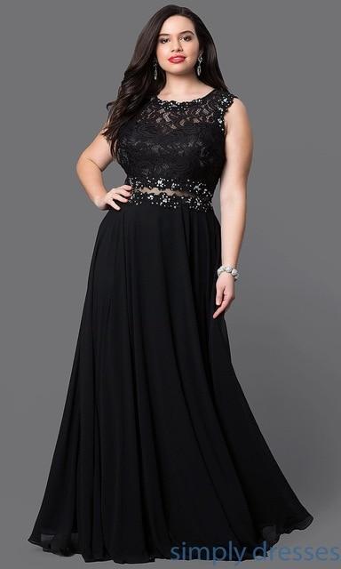 Plus Size Prom Dresses 2019 Sexy Illusion Waist Backless vestido de festa Women Solid Color Chiffon Lace Prom Long Elegant Dress 1