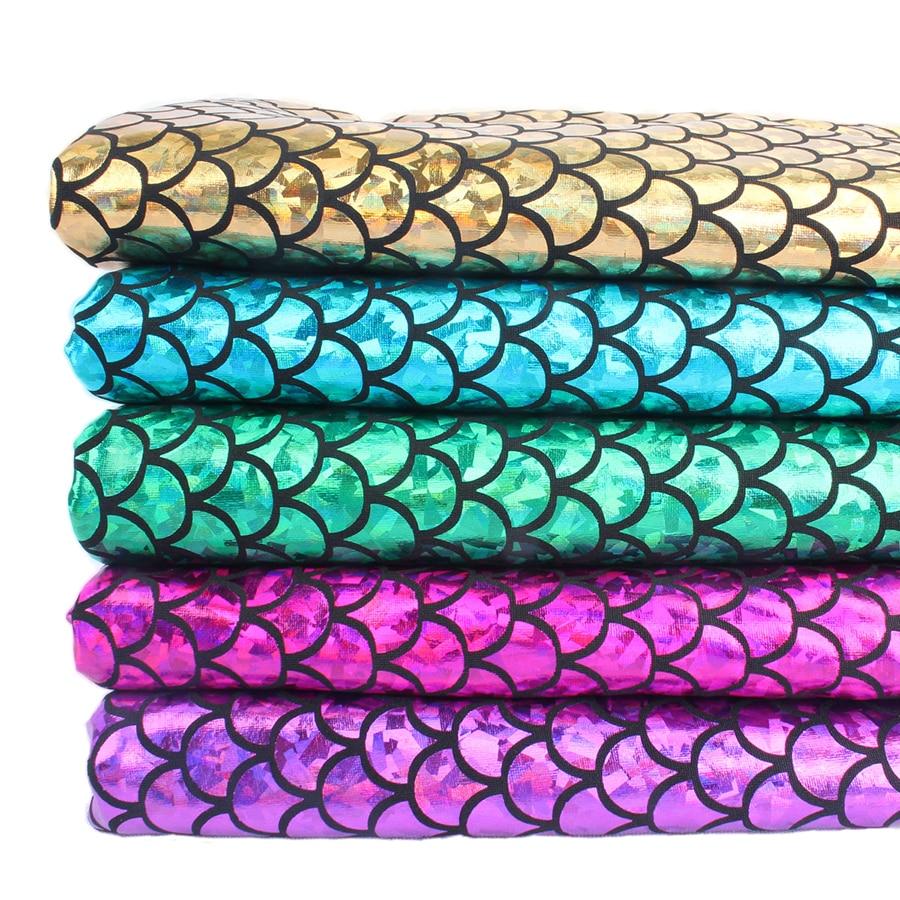 1 ярд 92 см блестящая ткань русалки голограмма спандекс 2 способа тянущаяся ткань для юбки хвост купальник-60 дюймов в ширину